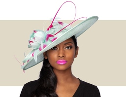 AMARA FASCINATOR HAT - Mint Green with Hot Pink