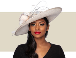 AMARA FASCINATOR HAT - Champagne and Silver Lurex