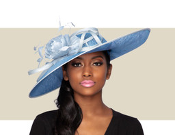 SOFIA FASCINATOR HAT - Cornflower and Light Blue