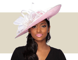 ELENA FASCINATOR HAT - Rose Pink and Ivory
