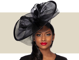 ALESSIA Fascinator Wedding Hat - Black