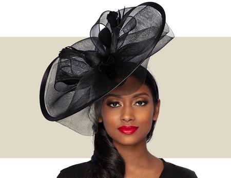 ALESSIA Fascinator Wedding Hat - Black