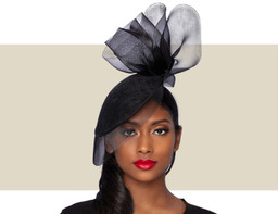 CHIARA Fancy Fascinator Wedding Hat - Black