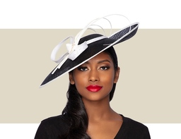 LILLY Fascinator Church Hat - Black and Ivory