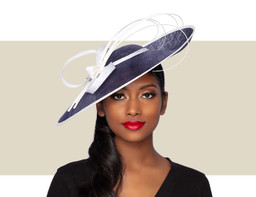 LILLY FASCINATOR HAT - Navy Blue and Ivory