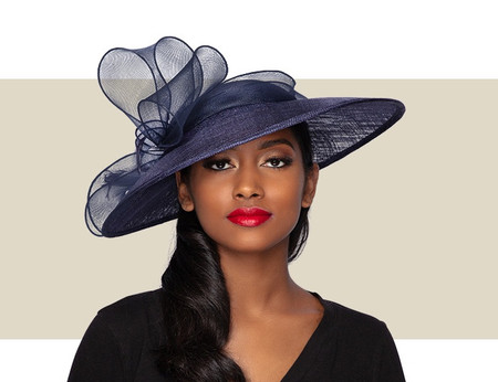 NIOMI Fascinator Church Hat - Navy Blue