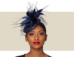 MARA COCKTAIL HAT - Navy Blue
