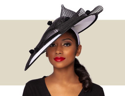 RAINA FASCINATOR HAT - Black and White