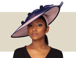 RAINA FASCINATOR HAT - Light Pink and Navy Blue