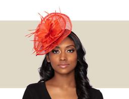 TESSA Fascinator Wedding Hat - Burnt Orange