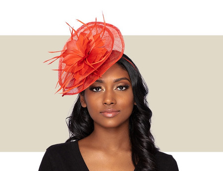 TESSA Fascinator Wedding Hat - Burnt Orange