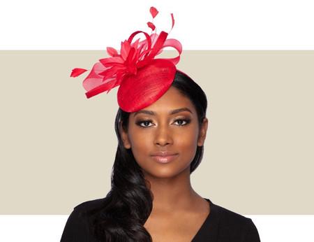 TISHA Cocktail Fascinator Wedding Hat - Red