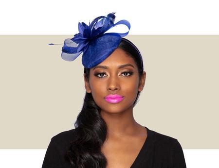 TISHA Cocktail Fascinator Wedding Hat - Cobalt Blue