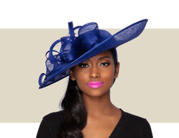 JAYNE FASCINATOR HAT - Cobalt Blue