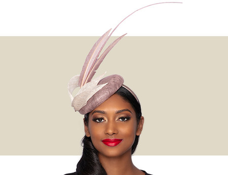 HALE Feather Cocktail Wedding Hat - Mink and Champagne