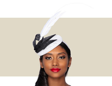 HALE Cocktail Wedding Hat - White and Black