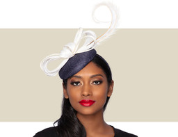 LAYLA COCKTAIL HAT - Navy and White