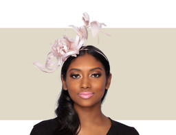 POISEY FASCINATOR - Pink Silver Lurex