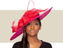 GIANNA FASCINATOR HAT - Hot Pink and Red