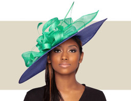 GIANNA FASCINATOR HAT - Blue and Green