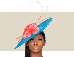 ARIA FASCINATOR HAT - Blue and Coral