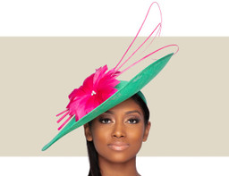 ARIA FASCINATOR HAT - Hot Pink and Green