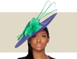 ARIA FASCINATOR HAT - Blue and Green