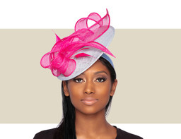 MIRANDA FASCINATOR - Hot Pink and Aqua