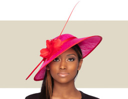 ARIANA FASCINATOR HAT - Hot Pink and Red