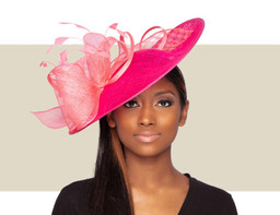 TONI FASCINATOR HAT - Hot Pink and Coral