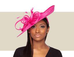 BRIA FASCINATOR HAT - Hot Pink