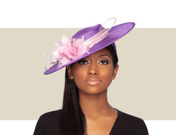 LADIES BOATER HAT - Purple and Lilac