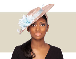LADIES BOATER HAT - Natural and Light Blue