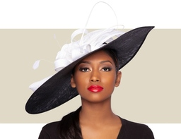 GIANNA FASCINATOR HAT - Black and White