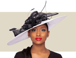GIANNA FASCINATOR HAT - White and Black