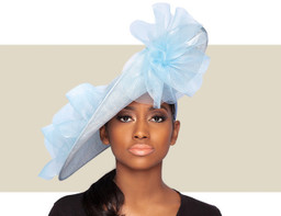 GIA FASCINATOR HAT - Pacific Blue