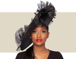 GIA FASCINATOR HAT - Black Gold Metallic