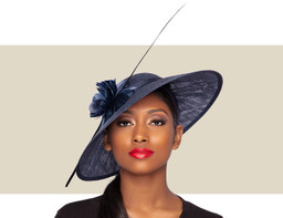 ARIANA FASCINATOR HAT - Navy Blue