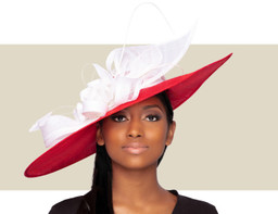 GIANNA FASCINATOR HAT - Red and White