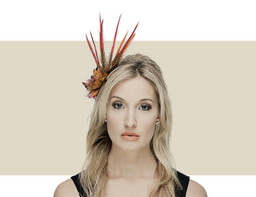 Gina Foster Centenary orange winter fascinator hat