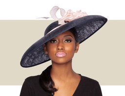 BARBARA HAT - Navy Blue and Pink