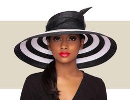 ZARA HAT - Black and White Stripe