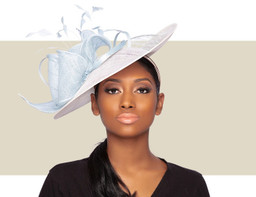 TONI FASCINATOR HAT - Ivory and Powder Blue