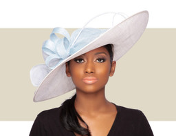 LIA KENTUCKY DERBY HAT - Ivory and Blue