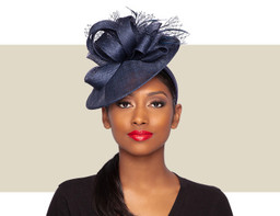 AMALIA FASCINATOR HAT - Navy Blue