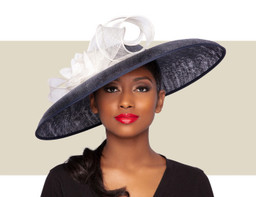 CHRISTIAN HAT - Navy Blue and Ivory