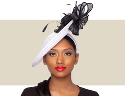 ANALIA FASCINATOR HAT - White and Black