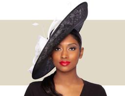 KIA FASCINATOR HAT - Black and White