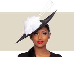 ARIA FASCINATOR HAT - Black and White