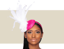 CHERISE FASCINATOR - Hot Pink and White